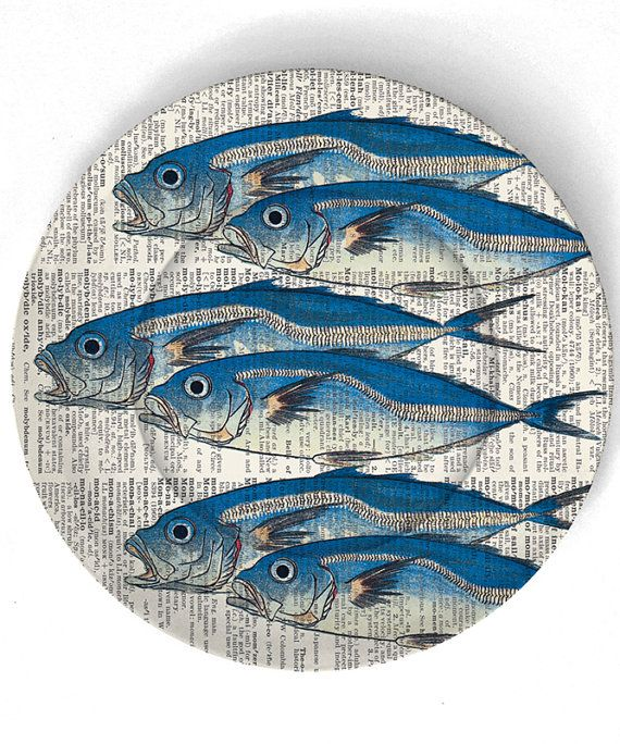 In days of yore, they came wrapped in newspaper. Wasn't that cool? Plate by TheMadPlatters. One of too many I'm pinning from that etsy shop. I want 'em all.