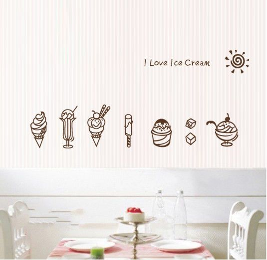 I Love Ice Cream Shop Window Stickers Business Vinyl Sign Decal Decor Removable