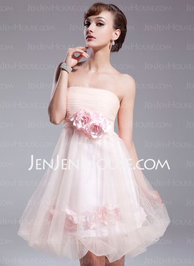Cocktail Dresses - $105.99 - A-Line/Princess Strapless Short/Mini Satin  Tulle Cocktail Dresses With Ruffle (016008549) http://jenjenhouse.com/A-line-Princess-Strapless-Short-Mini-Satin-Tulle-Cocktail-Dresses-With-Ruffle-016008549-g8549