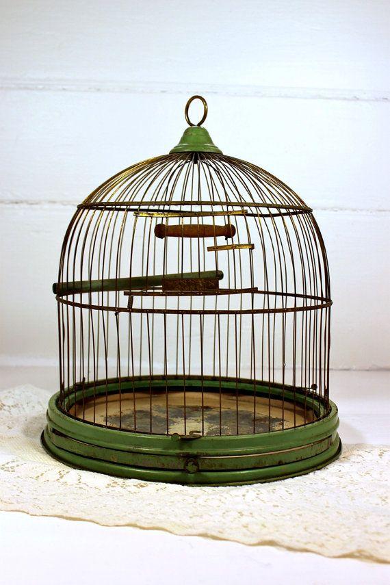 Vintage, Antique, Birdcage Hendryx, Green, Stand | Vintage