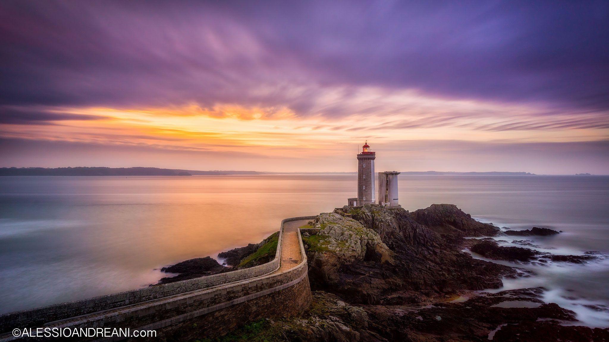 Phare Lighthouse Du Petit Minou In Brittany France A