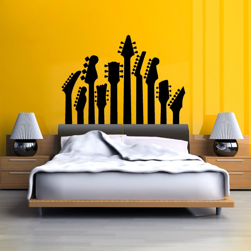 Row of guitar necks wall art sticker music decal rock silhouette ...