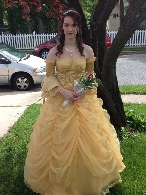 Girl Fulfills Dream Of Becoming Princess Belle For Prom Cosplay Prom Dresses Dresses Girl Costumes