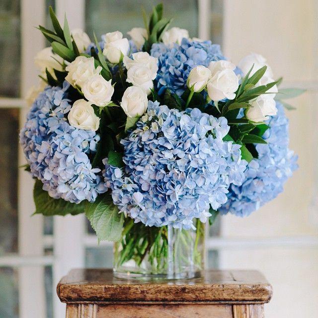 Pin By Keri Wenzel On Flower Power Wedding Flowers Blue Hydrangea Flower Arrangements Beautiful Flower Arrangements