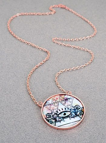 Eye of the Oracle Rose Gold Plated Necklace at PLASTICLAND
