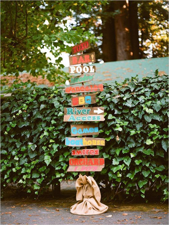 colorful rustic wood wedding signs / http://www.himisspuff.com/rustic-wedding-signs-ideas/2/