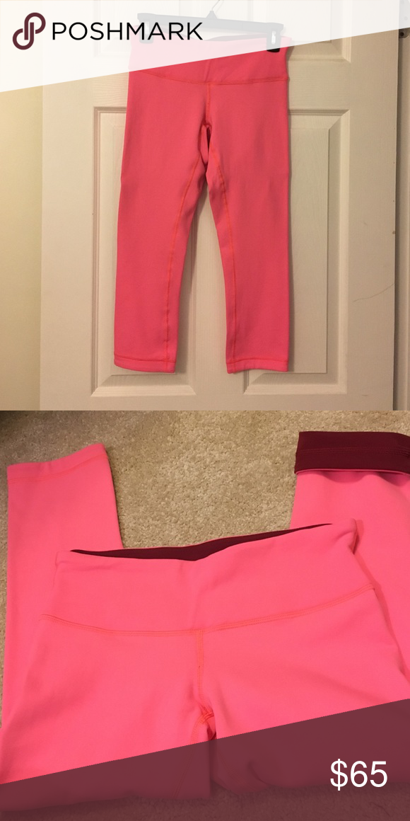 cac71f465a388a Size 6. Lululemon Reversible Wunder Under Crop. Size 6. Flash Light/Coral  Pink and Maroon. Worn once. I really need an 8. These are adorable!  lululemon ...