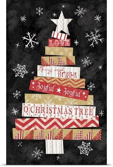 Cut Paper Christmas Tree Solid-Faced Canvas Print