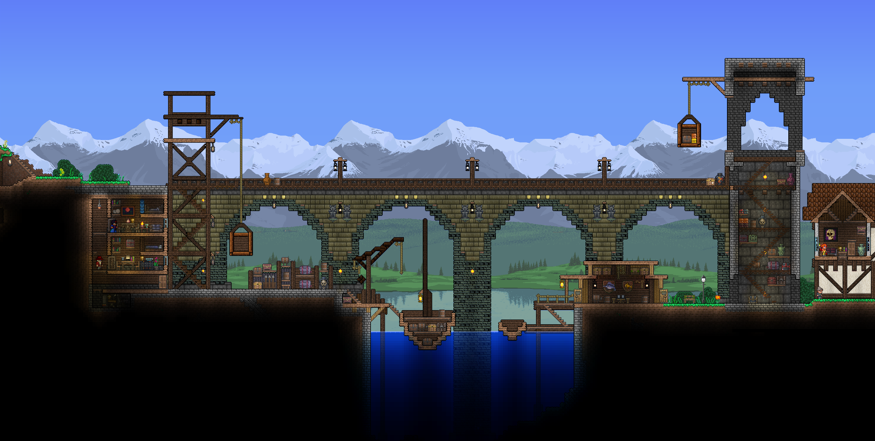 Stone Block Wall Terraria : Can anyone tell me the wall blocks used for this bridge s media