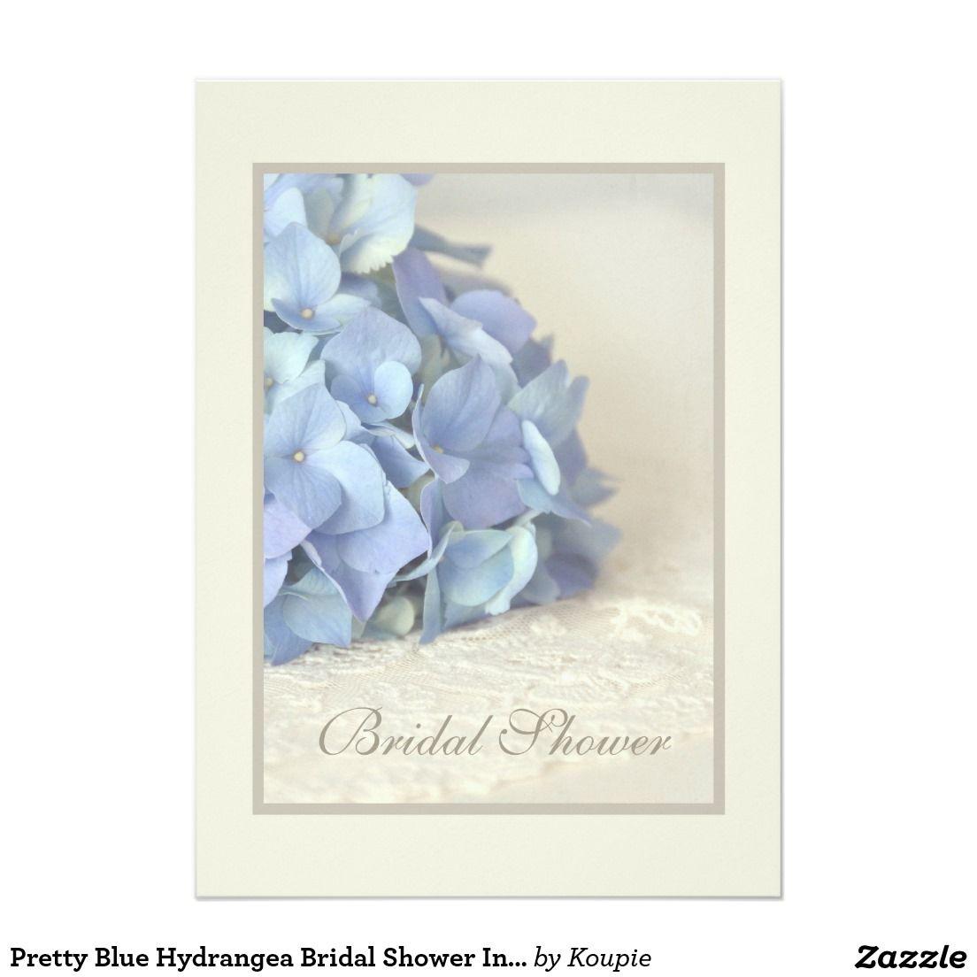 pretty blue hydrangea bridal shower invitations