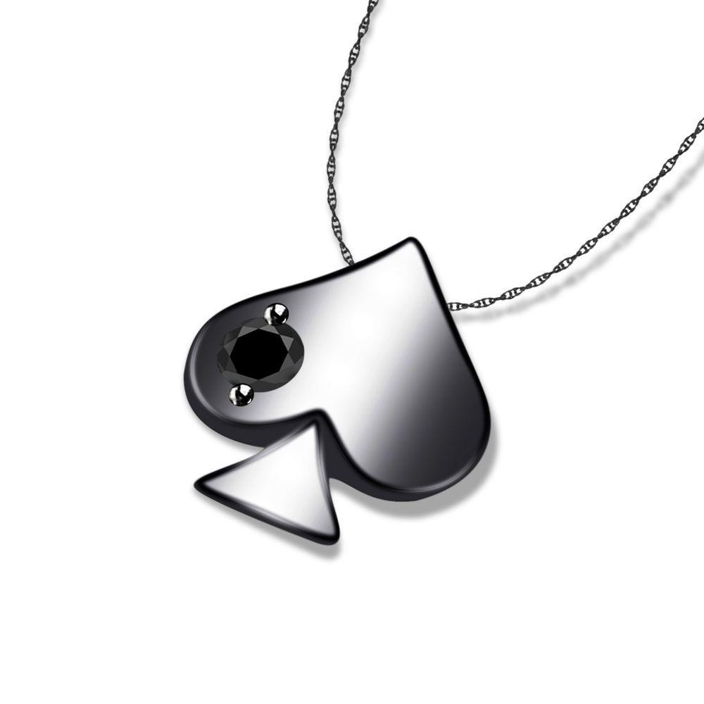 Full black 925 sterling playing card poker black diamond ace of black fashion pendants ebay ace of spadesplaying aloadofball Image collections