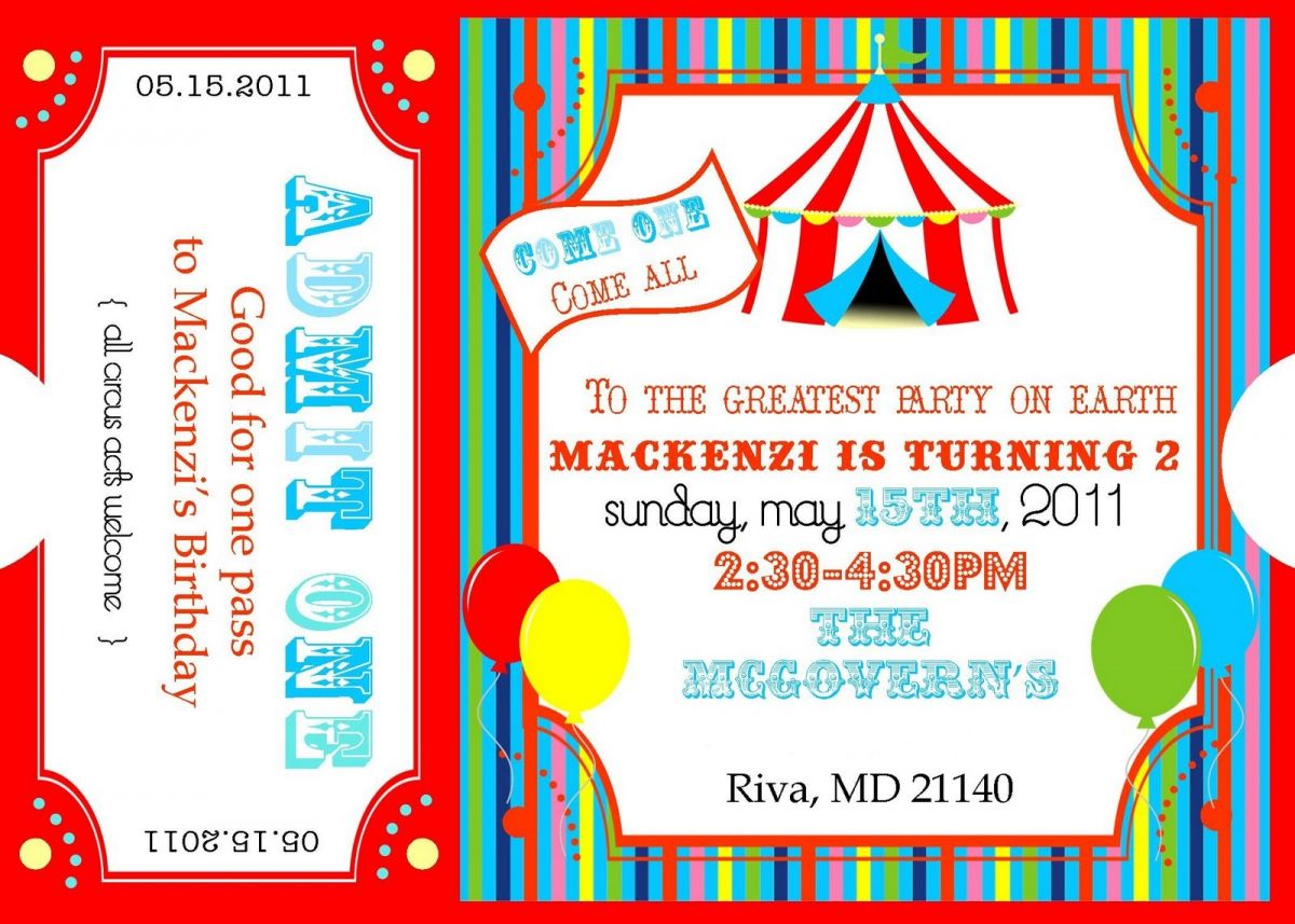 free printable carnival ticket invitations