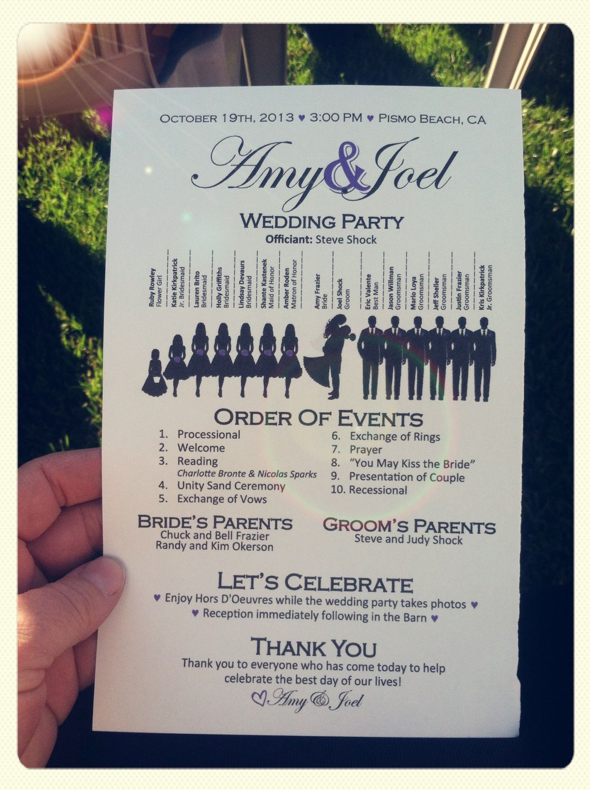 do you invite officiant to wedding reception%0A Wedding Program love the style  Brides family pays