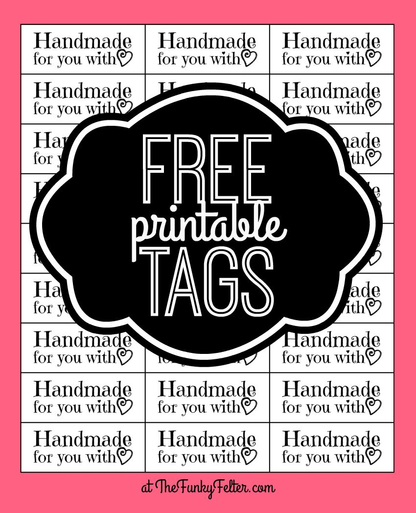 free printable handmade for you with love craft tags. Black Bedroom Furniture Sets. Home Design Ideas