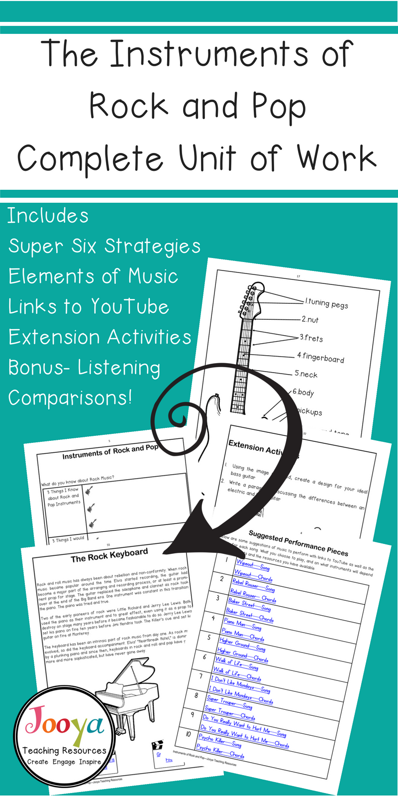 Instruments Of Rock Music Lessons And Worksheets Music Lessons Teaching Music Theory Keyboard Lessons [ 1600 x 800 Pixel ]