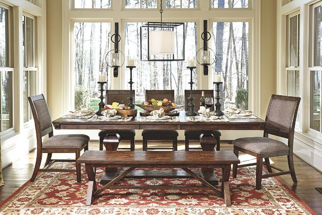 Dark Brown Windville Dining Room Table View 7 Seats Up To 10