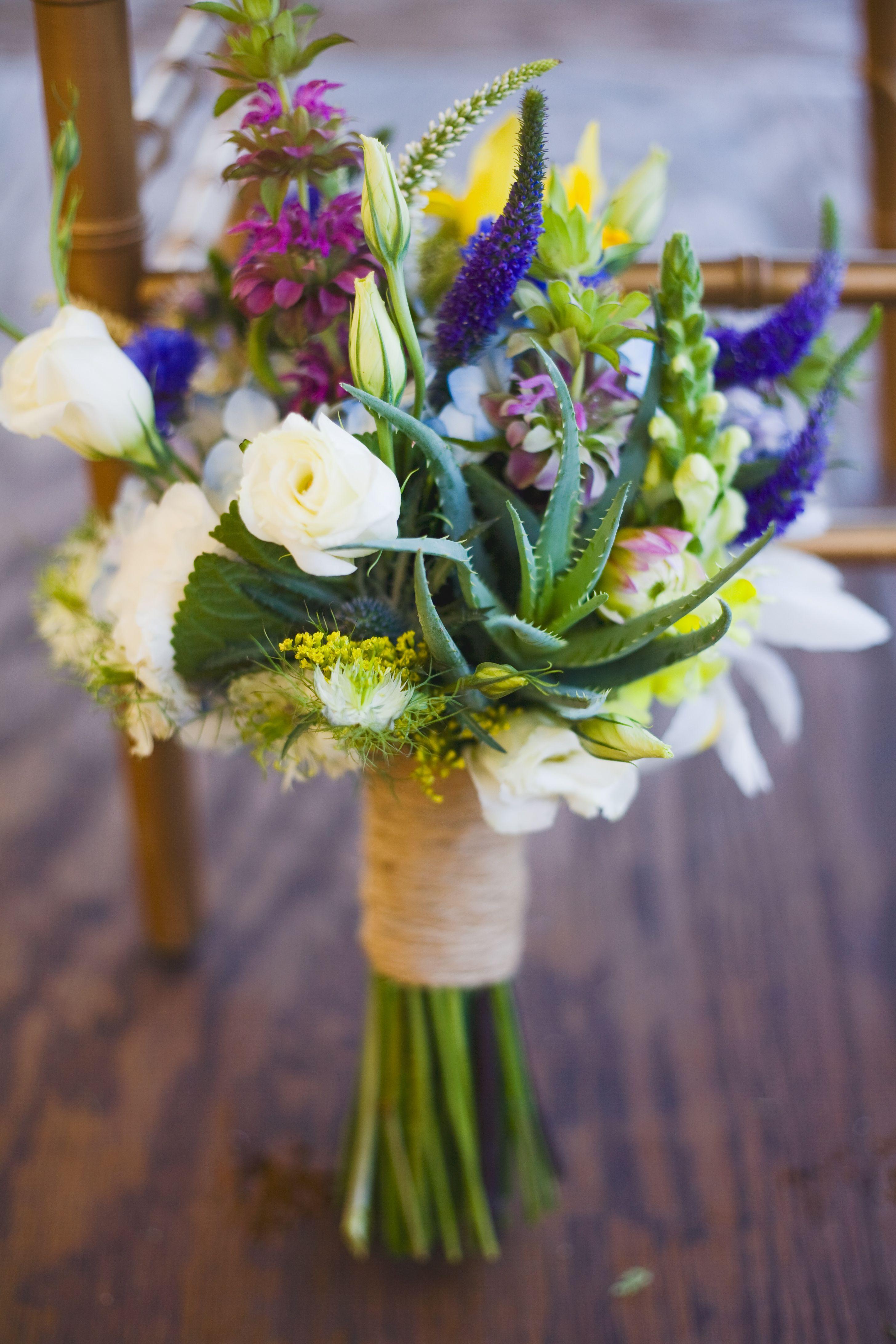 white purple blue green yellow wildflower inspired wedding