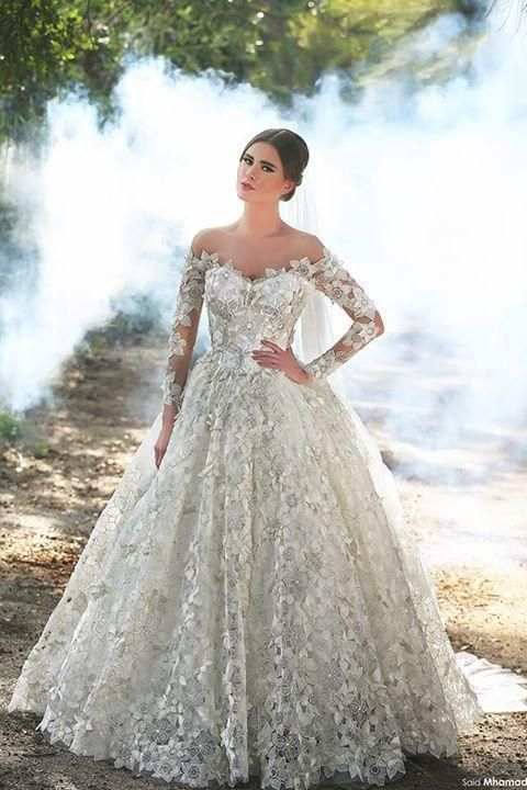 3ac64cf3733 2016 A Line Arabic Long Sleeves Full Lace Wedding Dresses Sexy Plus Size  Off The Shoulder Bridal Gowns Floor Length Church Dresses Designer Wedding  Dresses ...