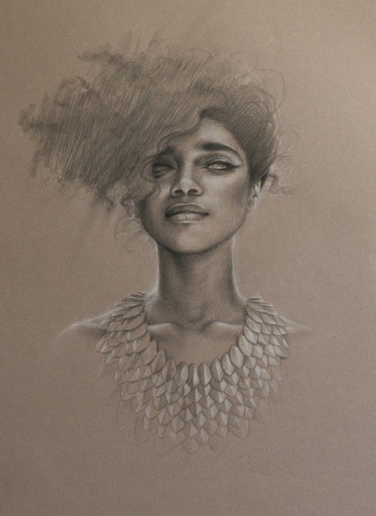 """'Elusive' by www.saragolish.com graphite & conte on toned paper 16"""" x 25"""" #portrait #drawing #liannelahavas giclee prints available"""