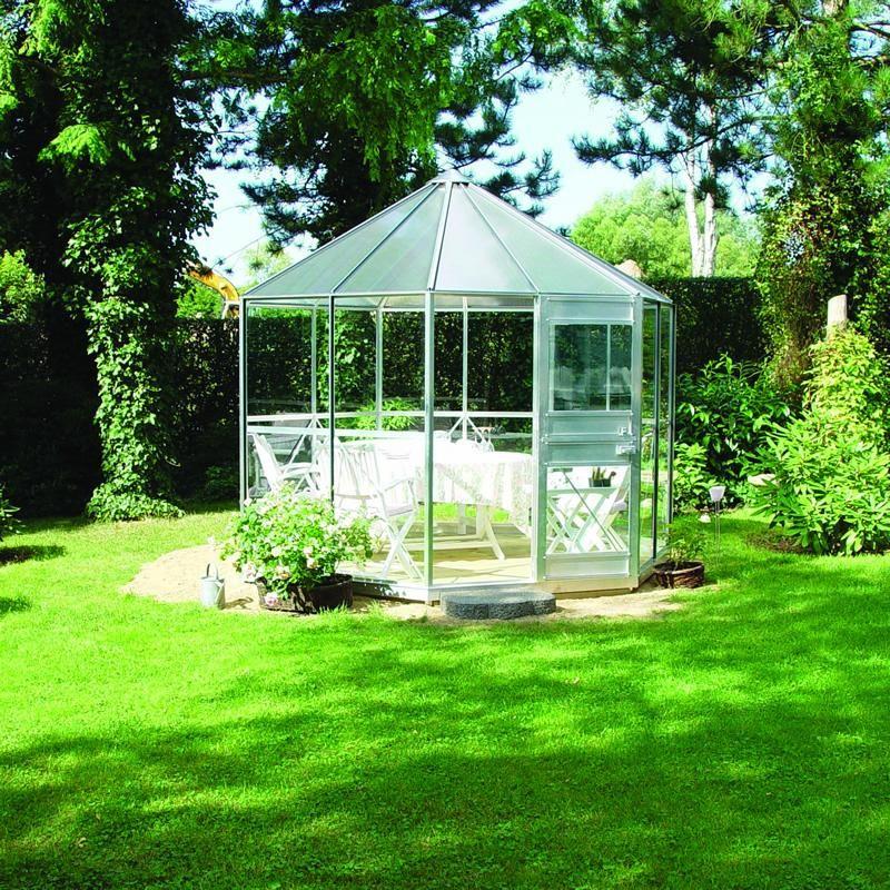 Serre de jardin hexagonale diamant 7 5m aluminium et verre tremp 4mm juli - Serre de jardin maison ...
