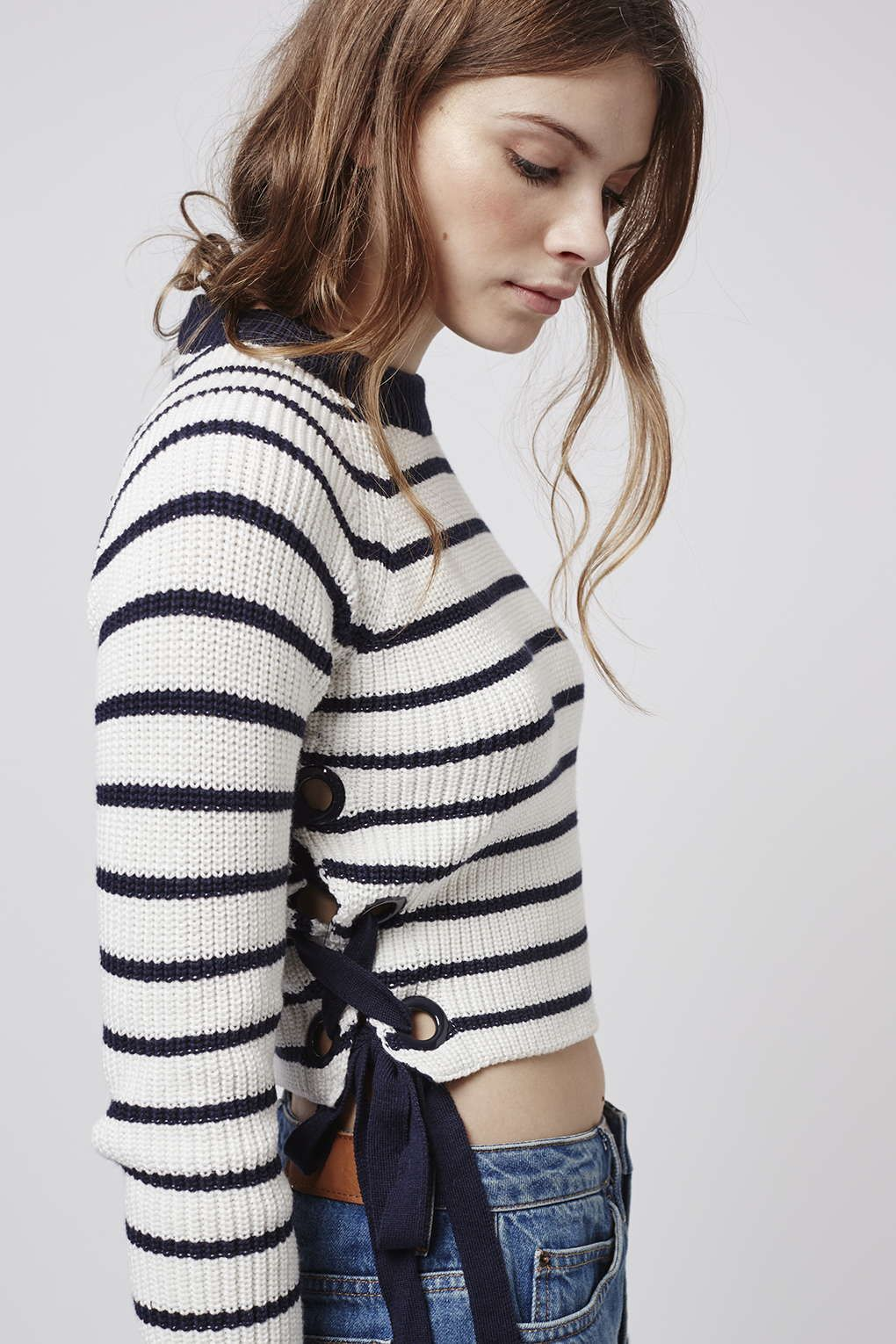 3bc52045fe Revamp your knitwear with this cute crop jumper. With eyelet and lace-up  sides