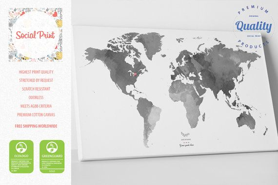 Personal grey world map with your tags canvas print free shipping personal grey world map with your tags canvas print free shipping wall art gumiabroncs Image collections