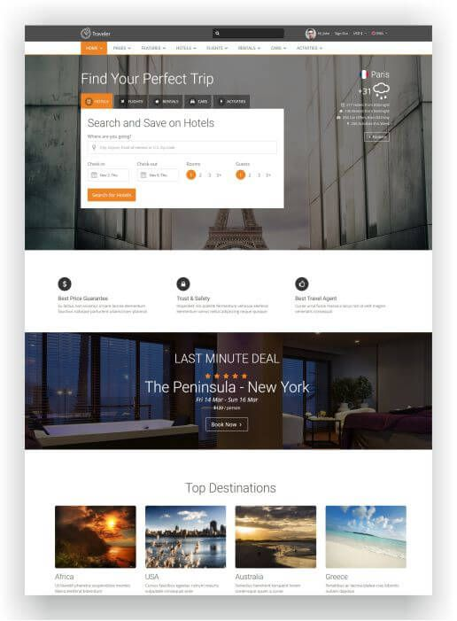 HTML5 Booking Template - Hotel / Flight / Car Rental and much more ...