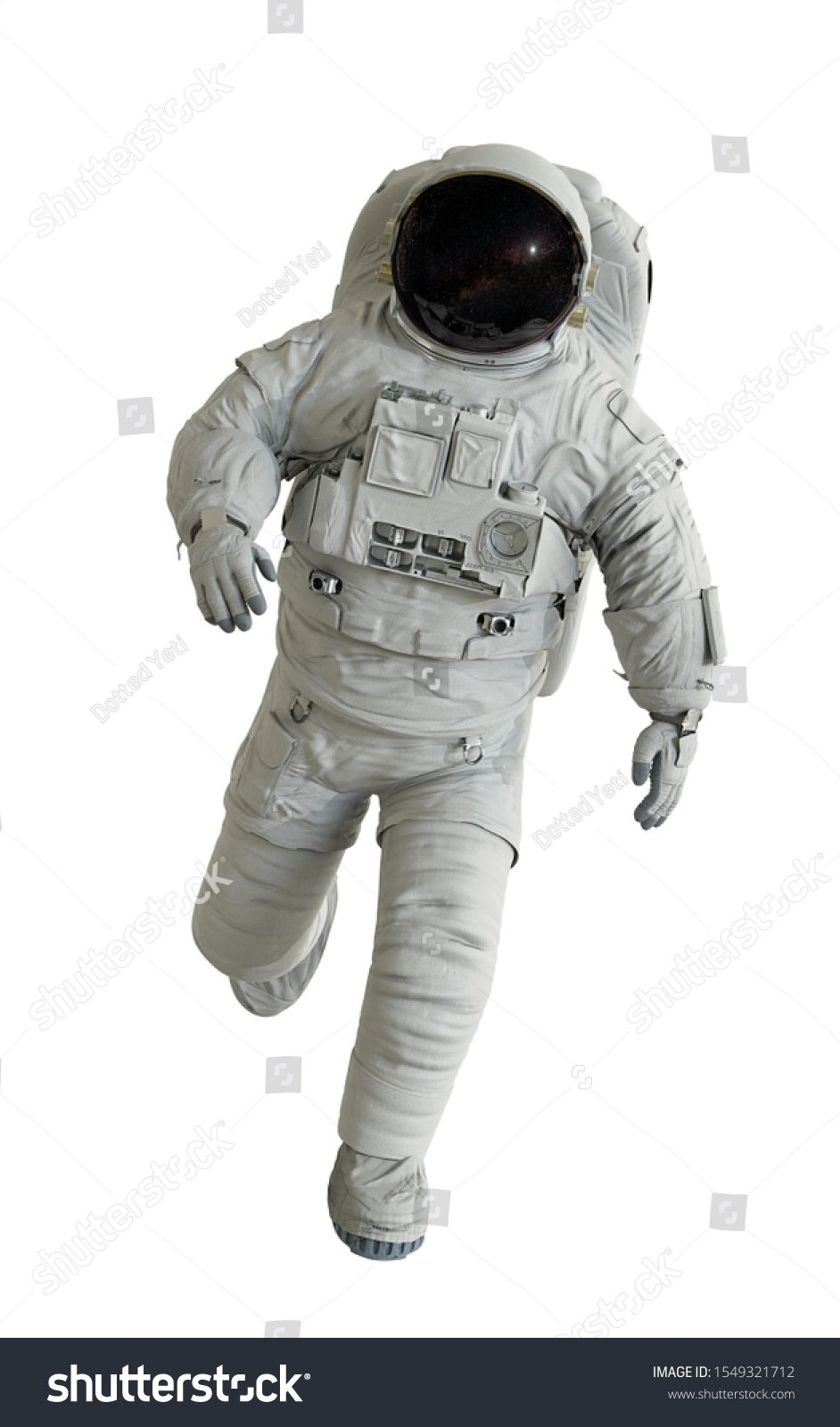 running astronaut, isolated on white background (3d
