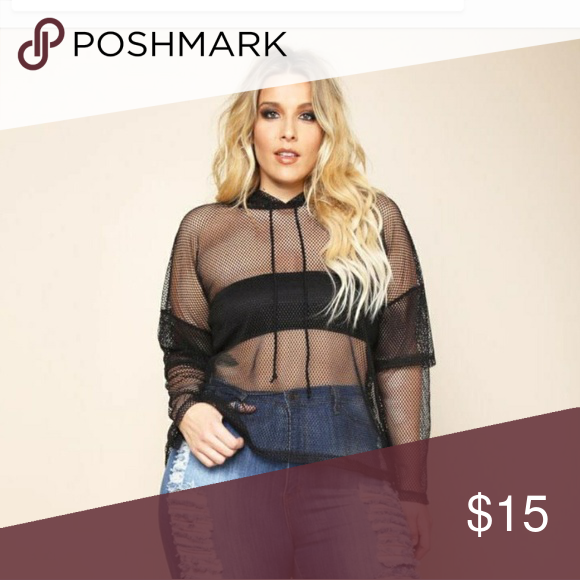 Sheer fishnet hoodie This very trendy hoodie is in Perfect condition. It has a detailed sleeve as shown. Nice and light. Bandeau not included. The drawstring work. G Stage Love  Tops Sweatshirts & Hoodies