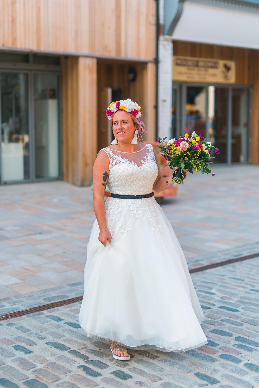 Fruit Space Hull Warehouse Wedding Alternative Colourful Fun Wedding Dress Styles Short Wedding Dress Flirty Wedding Dress
