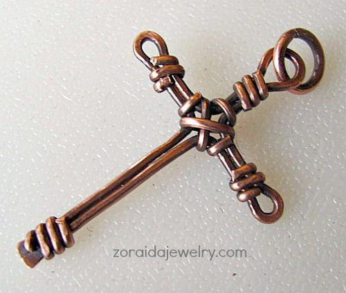 Custom Order Copper Wirewrapped Cross on Leather Cord
