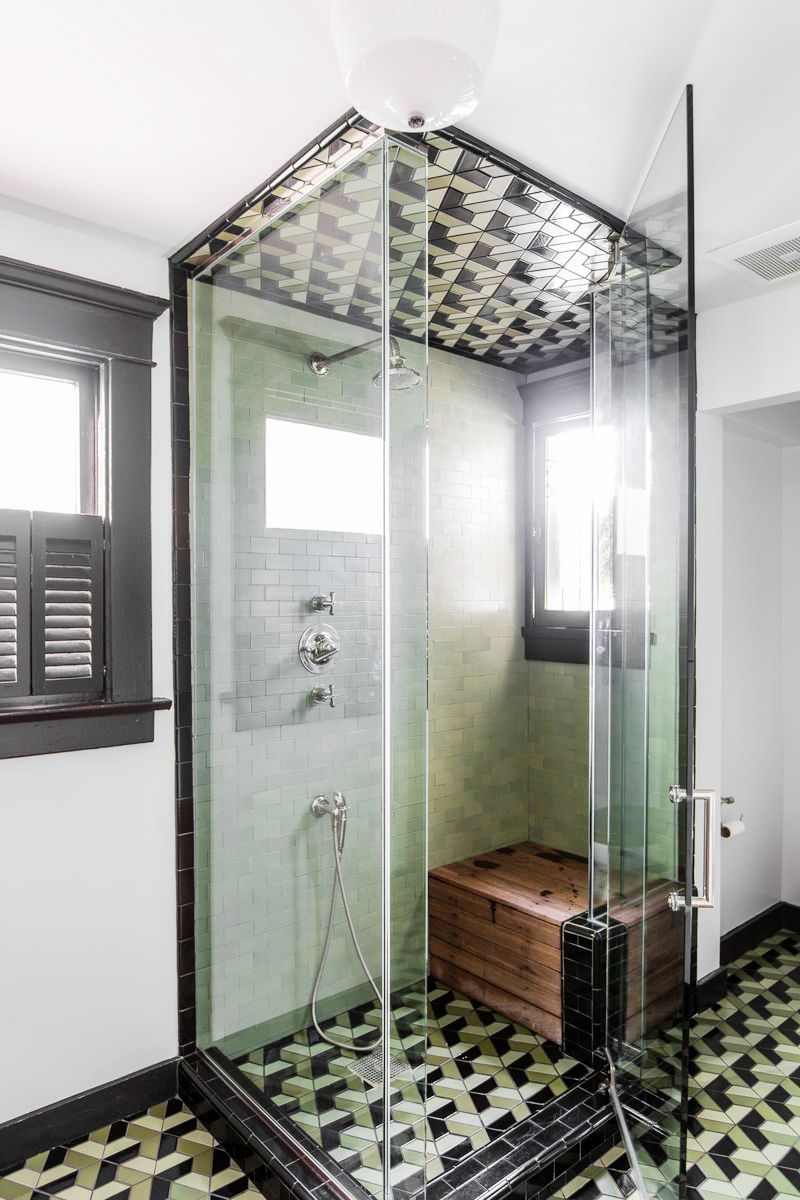 statement tile and vintage style in this vintage bath | via coco ...