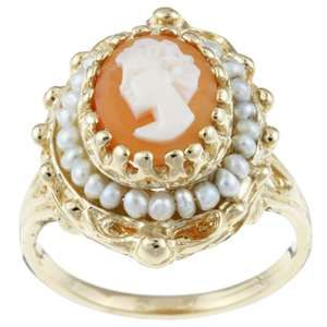 gold cameo and seed pearl ring