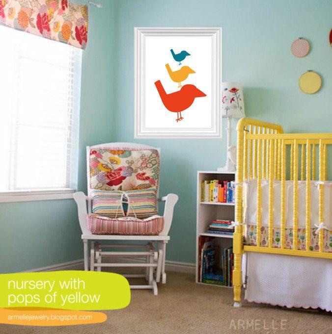 11 X 14 Diy Nursery Art Bird Nursery Room Wall Decor