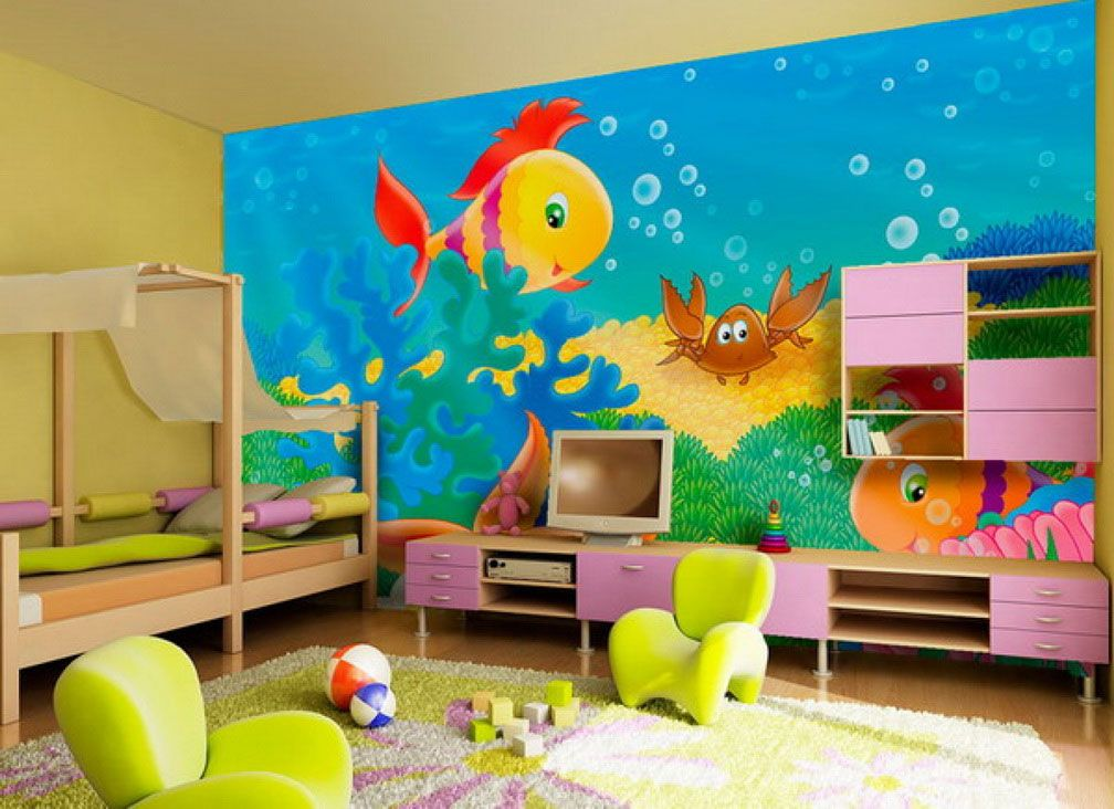 Cute kids room wall painting with fish pictures ideas Kids room wall painting design