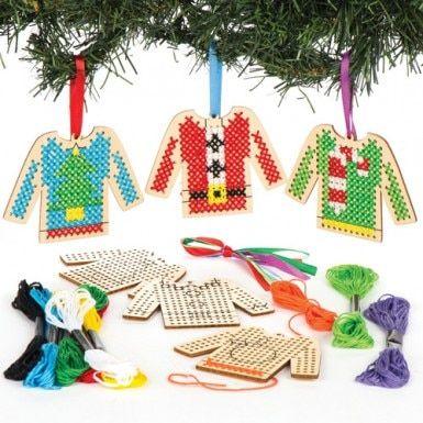 Kits De Decorations Pull De Noel En Bois Avec Point De Croix