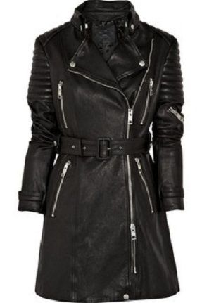 Women S Washed Lamb Leather Biker Trench Jacket