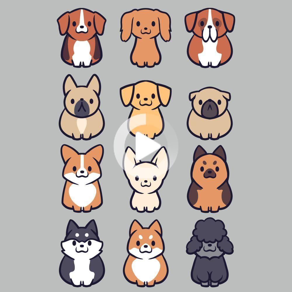 I 3 Dogs T Shirt Mens S In 2020 Cute Dog Drawing Cartoon Dog Chibi Dog