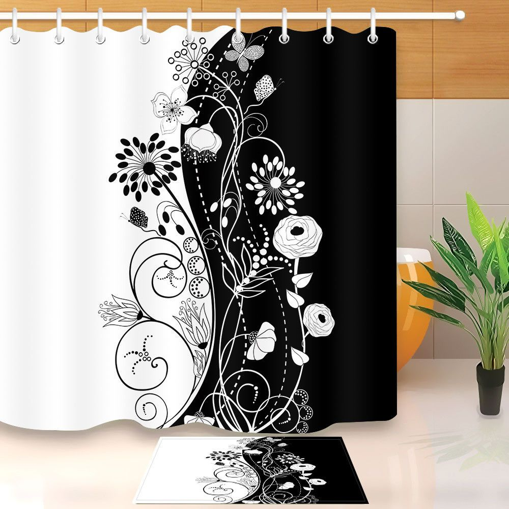 9 29 Abstract Black And White Shower Curtain Waterproof Fabric