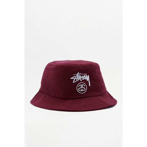 28a639585d4 Stussy Stock Burgundy Bucket Cap ( 50) ❤ liked on Polyvore featuring men s  fashion