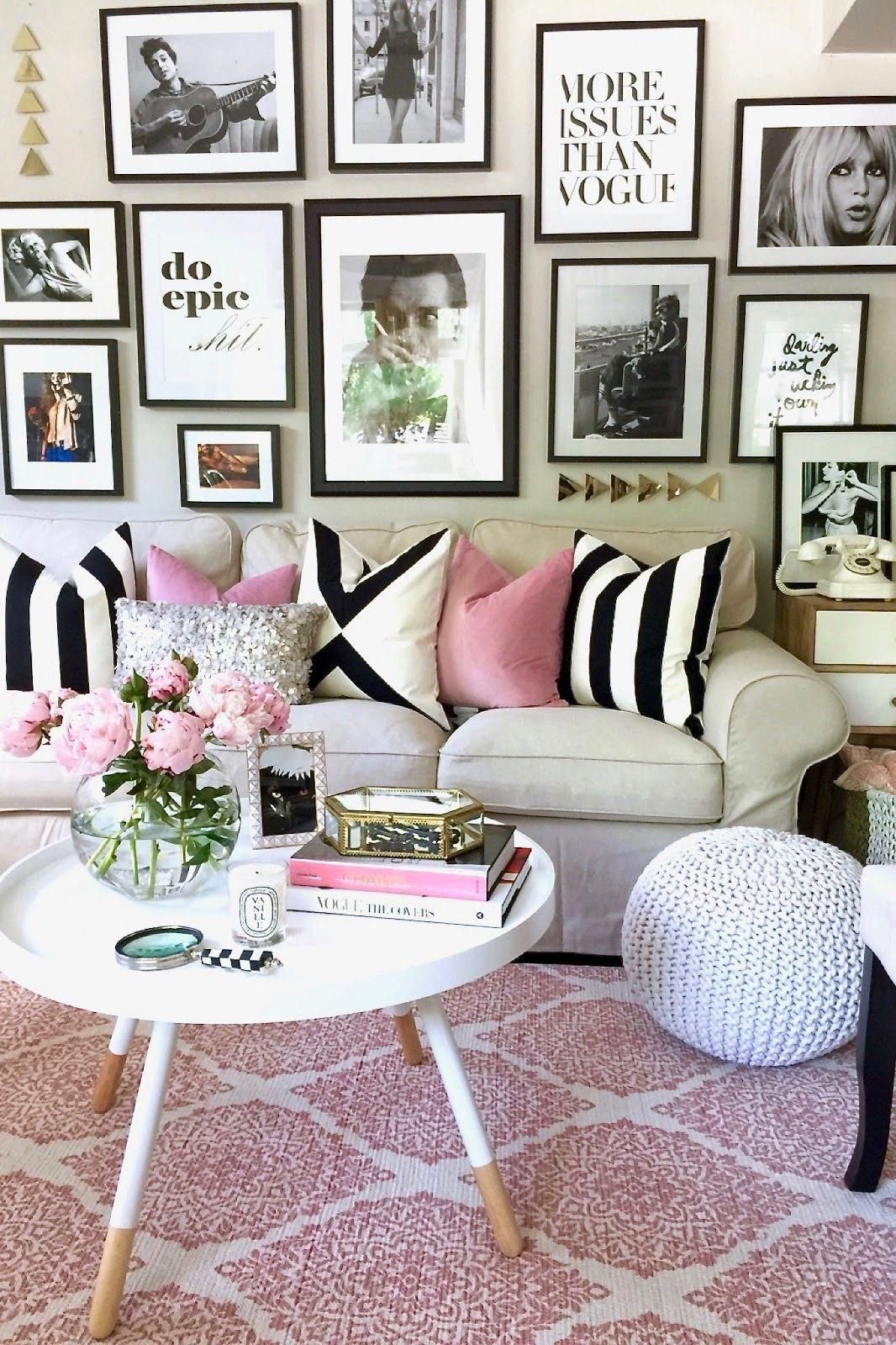 Pretty in pink an apartment refresh sticking to  simple black and white theme also  design packages home decor living room rh pinterest
