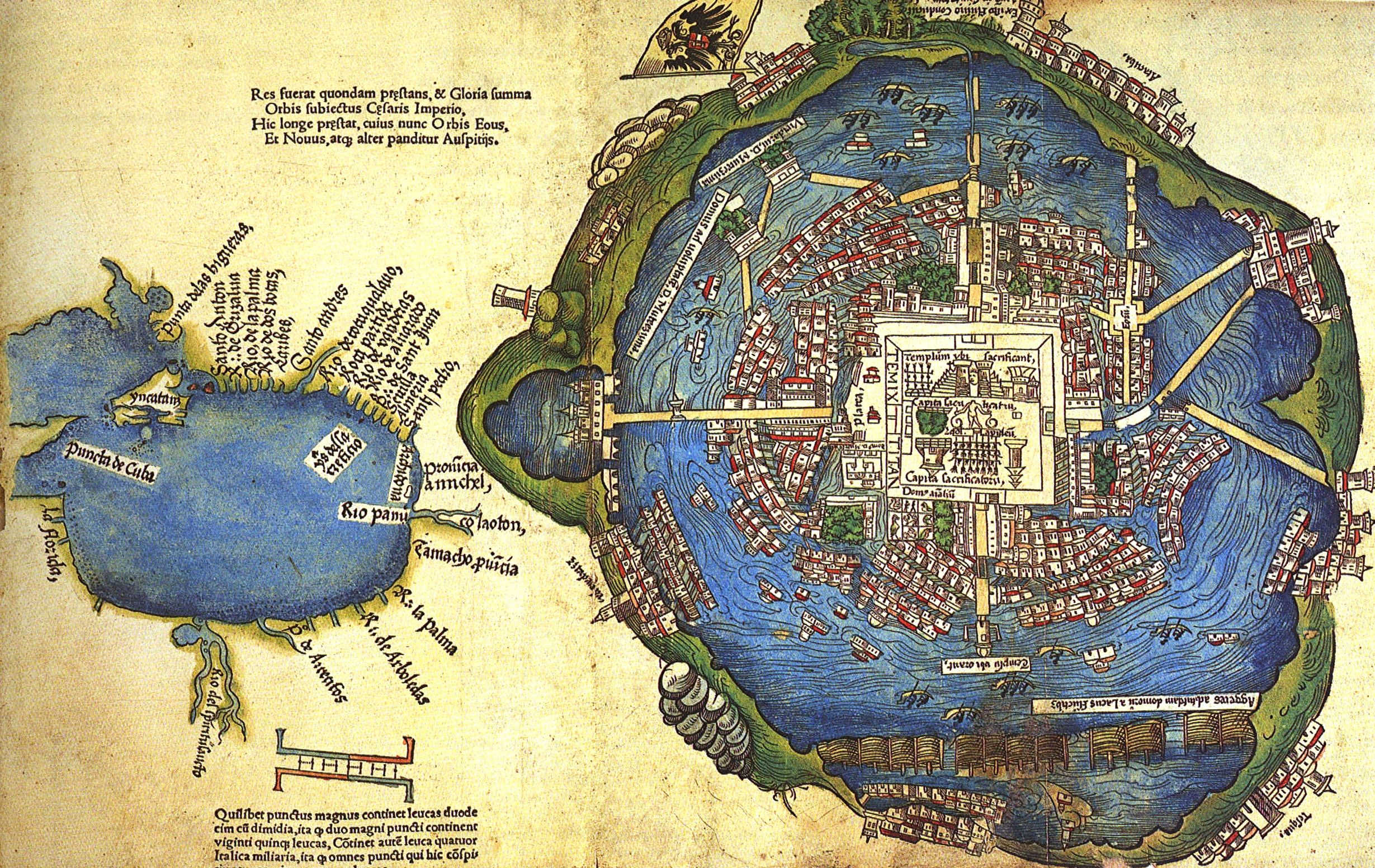 Map Southern Mexico%0A Image  Lagoon of Tenochtitl  n  Nuremberg map