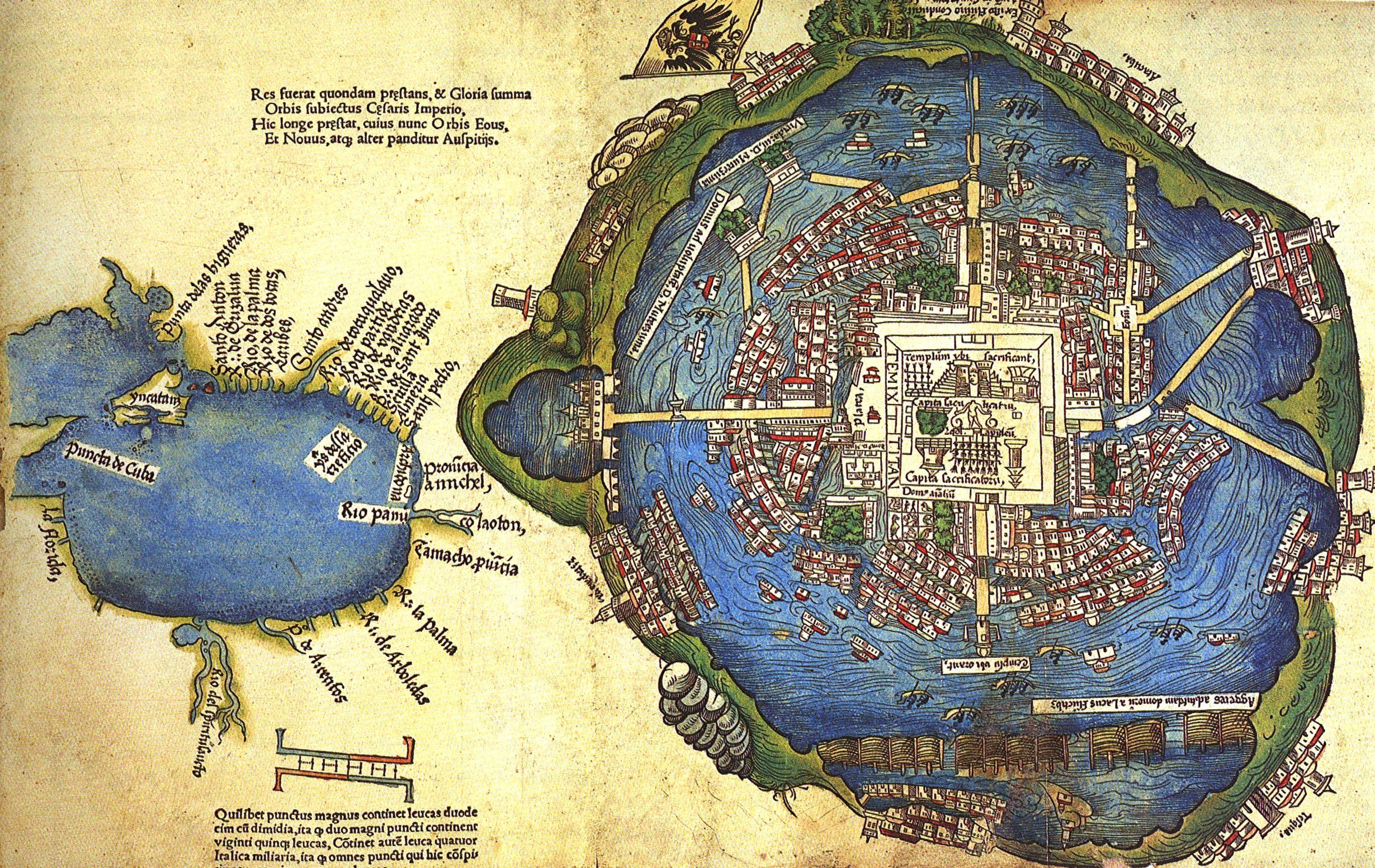 Image Lagoon of Tenochtitln Nuremberg map 1524