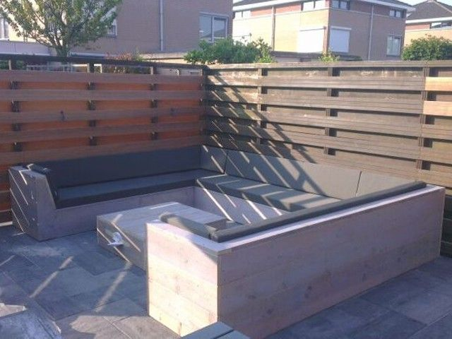 Steigerhouten u loungebank aal wheater kussens bank for Railing kussens