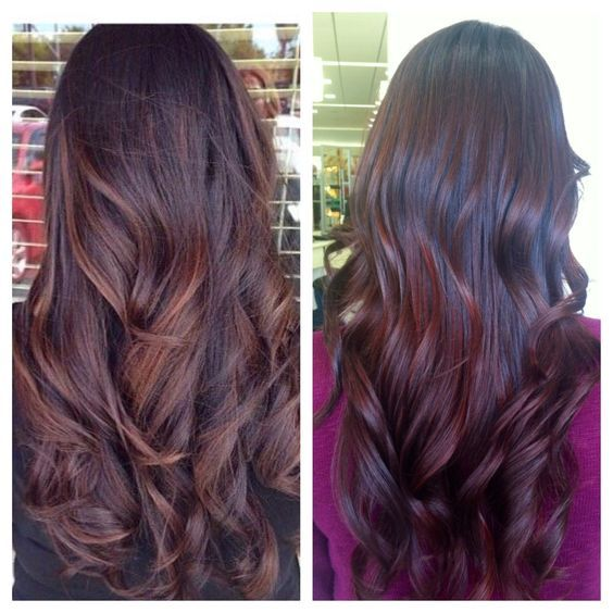 purple end tip balayage ecaille brown straight - Google Search