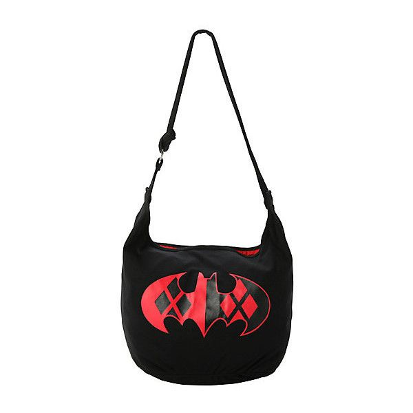 Dc Comics Batman Harley Quinn Logo Hobo Bag Hot Topic 23 Liked On Polyvore Featuring Bags Handbags Shoulder Accessories White Purse