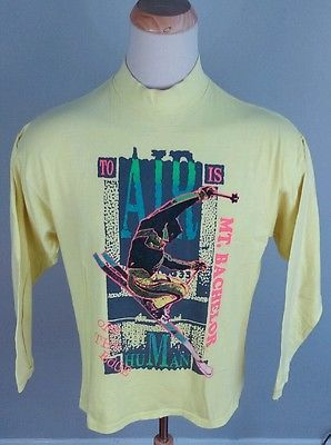 5785be57fd Vintage-80-039-s-Neon-Freestyle-Ski-T-Shirt-Mt-Bachelor-XL-L-USA-Oregan-1989