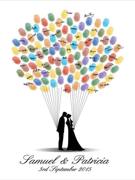 Wedding Guest Book, Fingerprint Guest book, DIGITAL PRINTABLE JPEG, Fingerprint Wedding Guestbook, Custom Design, Bride & Groom Silhouettes