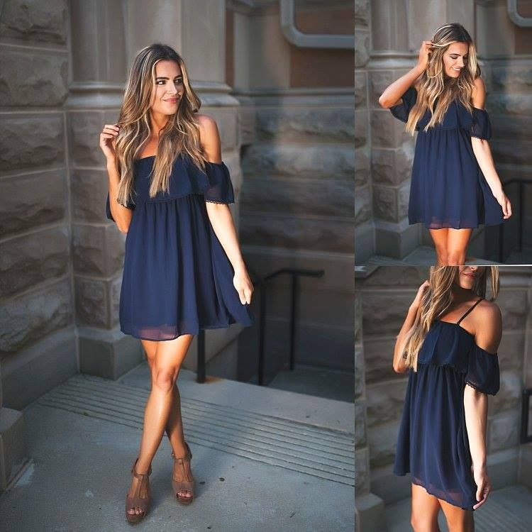 Navy is always in season - it's the perfect color to wear all year long! This Open Shoulder Dress {$32} needs to be in your closet #summerstyle