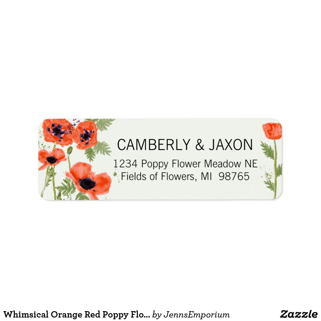 Whimsical Orange Red Poppy Flowers Watercolor Label Zazzle Com